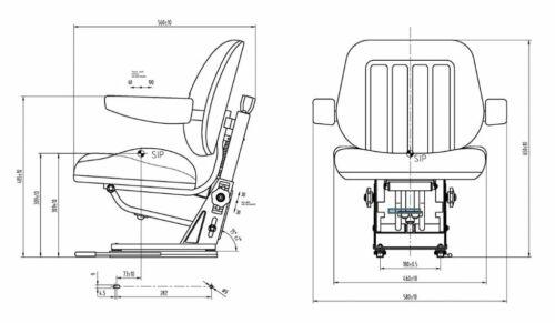 Massey Ferguson MF 300 serie Lowline Cab Asiento del Tractor 300-399 390 brazos de tela y