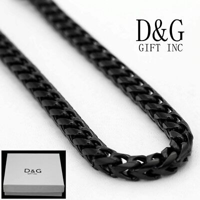 """DG Men/'s 30/"""" Long Black Stainless-Steel 7mm Smooth Franco Chain Necklace,Box"""