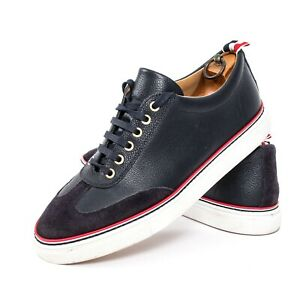 THOM-BROWNE-NAVY-RARE-MENS-SUEDE-LEATHER-SNEAKERS-WINGTIP-LACE-UP-8-5-US-42-5