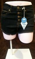 Sadie Robertson, Wild Blue Denim Cut Off Frayed Hem 4 Button Shorts, Size 5
