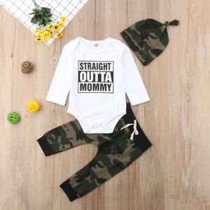 6347868dffb3f Newborn Baby Boy Coming Home Cotton Outfits Romper Camo Long Pants ...