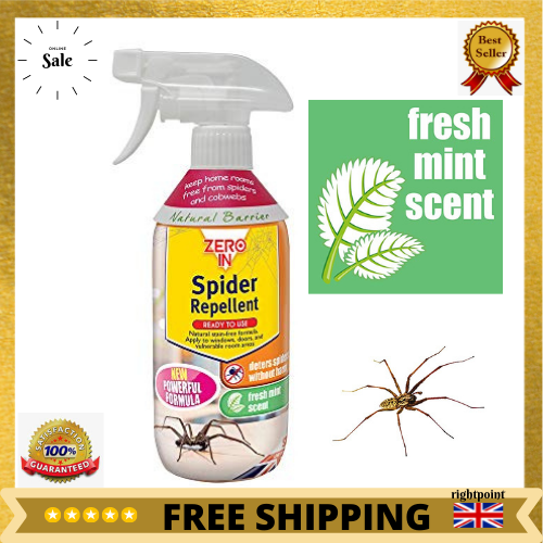 Zero In Spider Repellent Cobwebs Ready To Use Spray Stain Free Fresh Mint 500ml