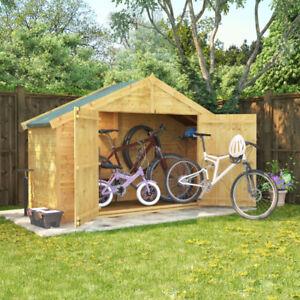 3x8 overlap wooden apex bike log store double door roof felt shed