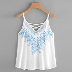 f58b589d4665f6 Women Tank Tops Flower Embroidered Strappy Cami Vest Top Blouse ...