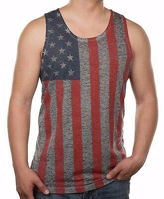 AMERICANA SKULL Tank Top T Shirt Beater ~ Patriotic Skulls Tee ~ American Flag