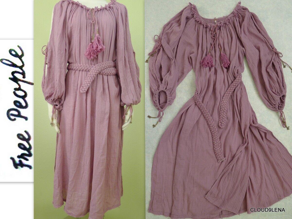NWoT FREE PEOPLE Vintage Peasant Tassel Side Sleeve splits Oversized Dress XS