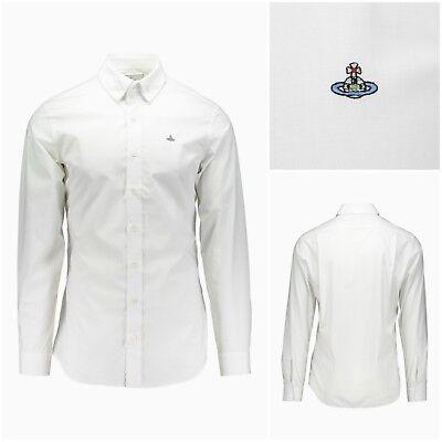 Authentic Vivienne Westwood Bianco Petto Orb Popeline Krall Camicia. It 50 (grande)-mostra Il Titolo Originale