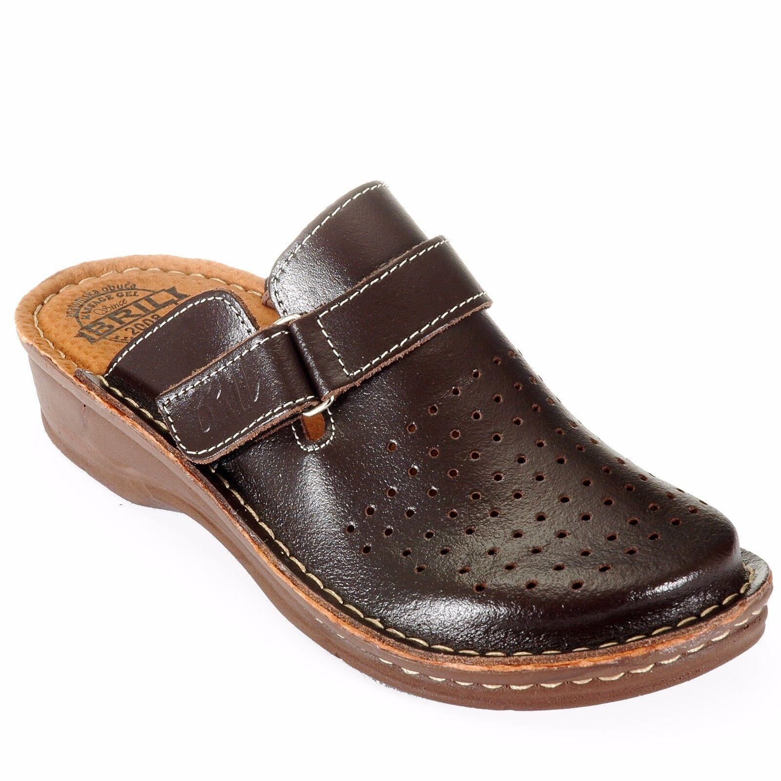 Dr punto rojo Bril Bril Bril D52 de cuero para mujer Slip On Suecos Mulas Zapatillas Zapatos, Marrón  mejor moda
