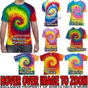 d97da6273ba013 Mens Tie-Dye T-Shirt 100% PRESHRUNK Cotton Adult Tye Die Tee S
