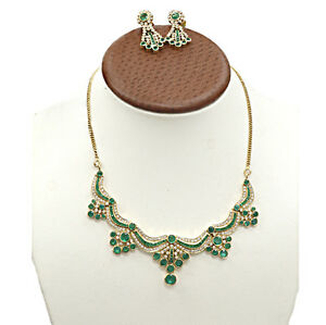 18K-ORO-GIALLO-COLOMBIANO-verde-smeraldo-e-diamante-collane-orecchini