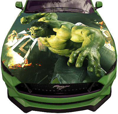 Vinyl Car Hood Wrap Full Color Graphics Decal Incredeble Hulk Face Sticker