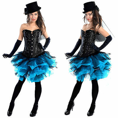 Black Blue Burlesque Masquerade Ball Mardi Gras Steam Punk Dance Skirt 6-16 Sexy