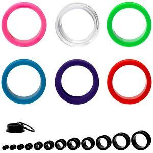 Acryl-Kunststoff-Plug-Flesh-Tunnel-Ohr-weis-schwarz-transparent-lila