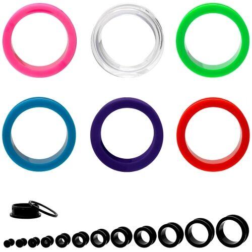 Noir Acrylique plastique plug Flesh tunnel oreille Blanc violet transparent