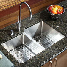 29 X 16 Double Bowl Stainless Steel Hand Made Undermount Kitchen Sink Combo