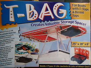 Image is loading T-BAG-T-TOP-STORAGE-PACK-HOLDS-4- & T-BAG T-TOP STORAGE PACK HOLDS 4 TYPE II PFDS 253 PFDT4 BOAT TOP ...