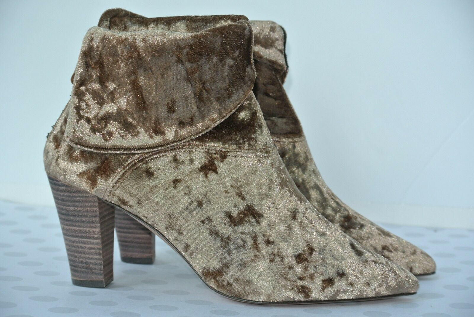 NEW Free People Damenschuhe 39 / 8.5 Braun Sand Crushed Velvet Cuff Ankle Stiefel $198