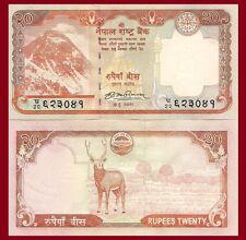 Nepal P62, 20 Rupee, Mr. Everest, temple of god Krishna / swamp deer, UNC see UV