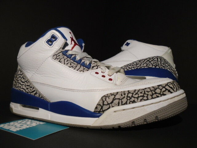 Nike Air Jordan III 3 Retro WHITE TRUE BLUE CEMENT GREY FIRE RED 136064-104 10 The most popular shoes for men and women