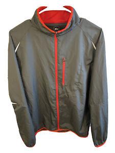 REI Mens Medium Jacket Full Zip Up Raincoat Gray Red Lightweight