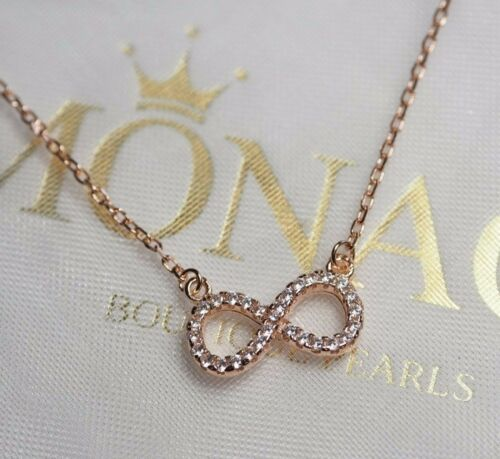 CZ Infinity Symbol Pendant Necklace in Solid 925 Sterling Silver Gift