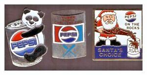 Pepsi pins: panda; Yukon baseball Challengers; On the Rocks Santa's Choice