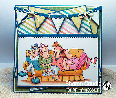 PJ  PARTY WOMEN (You get photo #2) L@@k@ examples art impressions rubber stamps