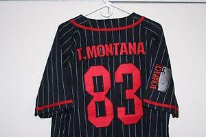 sports shoes 26faf a65f4 Details about Scarface Tony Montana #83 Sewn Baseball Jersey Multi Black  Red Men Medium Mafia