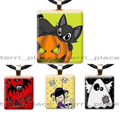 Halloween Cat Ghost Pumpkins & More Scrabble Tile Pendant Charm Seasonal Jewelry