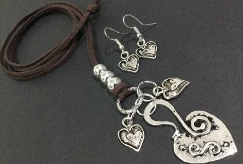 Long BROWN Suede Necklace With Tibetan Love Heart Charms And FREE EARRINGS