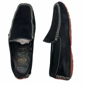 Men-s-8-5-ALDO-BRUE-Maus-Hoffman-Black-Suede-Red-loafer-driving-moccasins-Italy