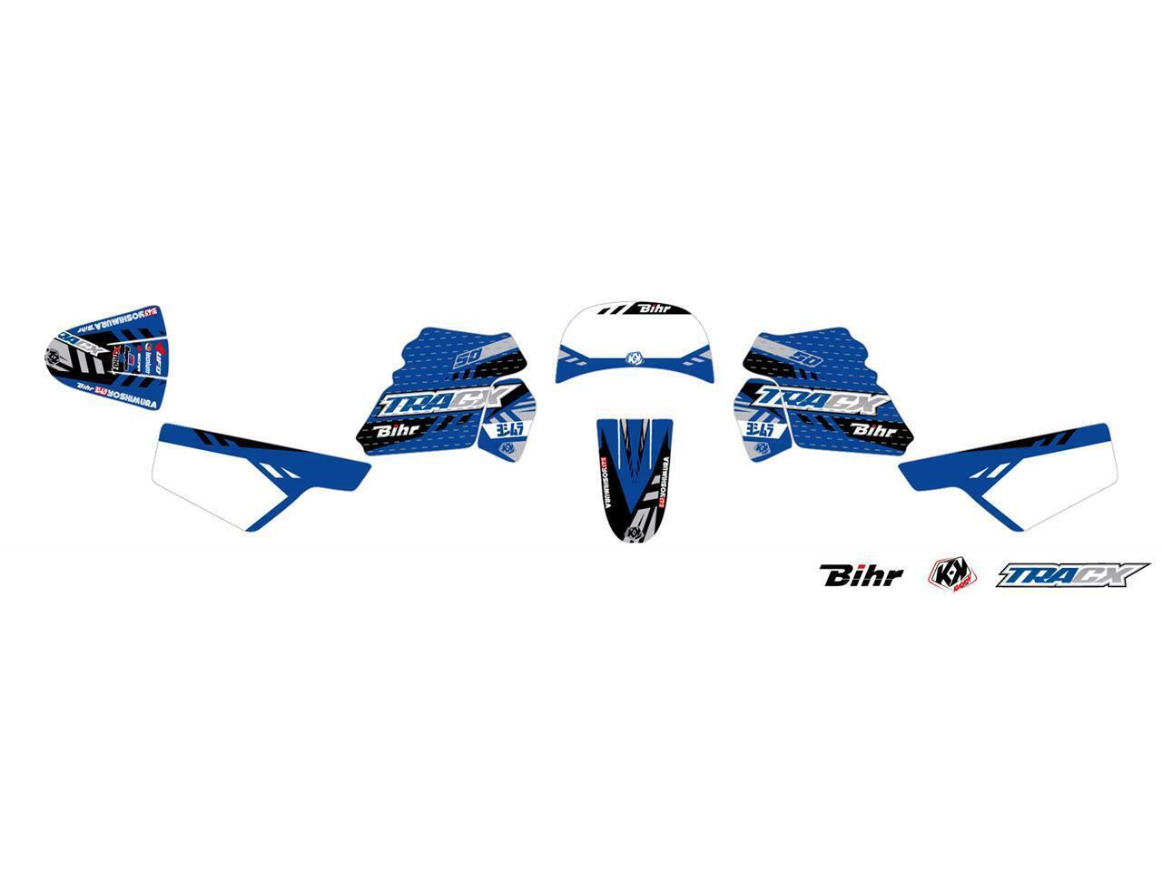 Satz Deko Kutvek Tracx blau Yamaha PW50 1983 à 2019  | Hochwertige Produkte
