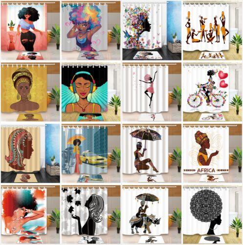 Bath Mat Set Pop Art African Woman Black Girl Waterproof Fabric Shower Curtain