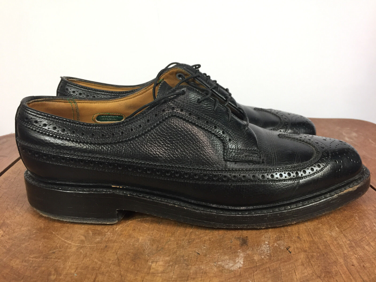 Vtg Florshiem Oxford Wing Tip Gunboat nero 6 Nail V Cleat Dress scarpe Imperial
