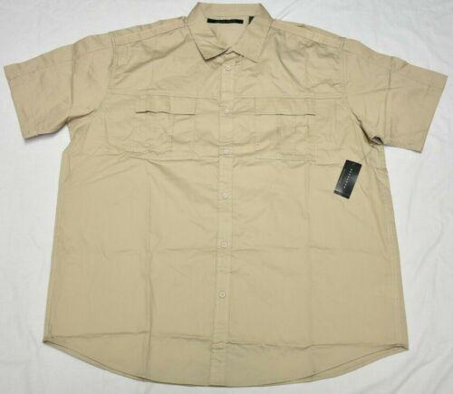 Sean John Button Down Shirt Men/'s Velcro Two-Pocket Woven Taupe Khaki Urban P498