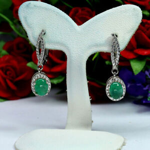 NATURAL-5-X-7-mm-GREEN-COLOMBIAN-EMERALD-amp-WHITE-CZ-EARRINGS-925-SILVER