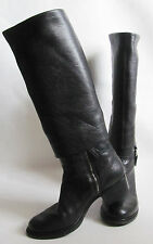 MIU MIU Black Pebbled Leather Women Boots, Made In Italy Sz. 39.5