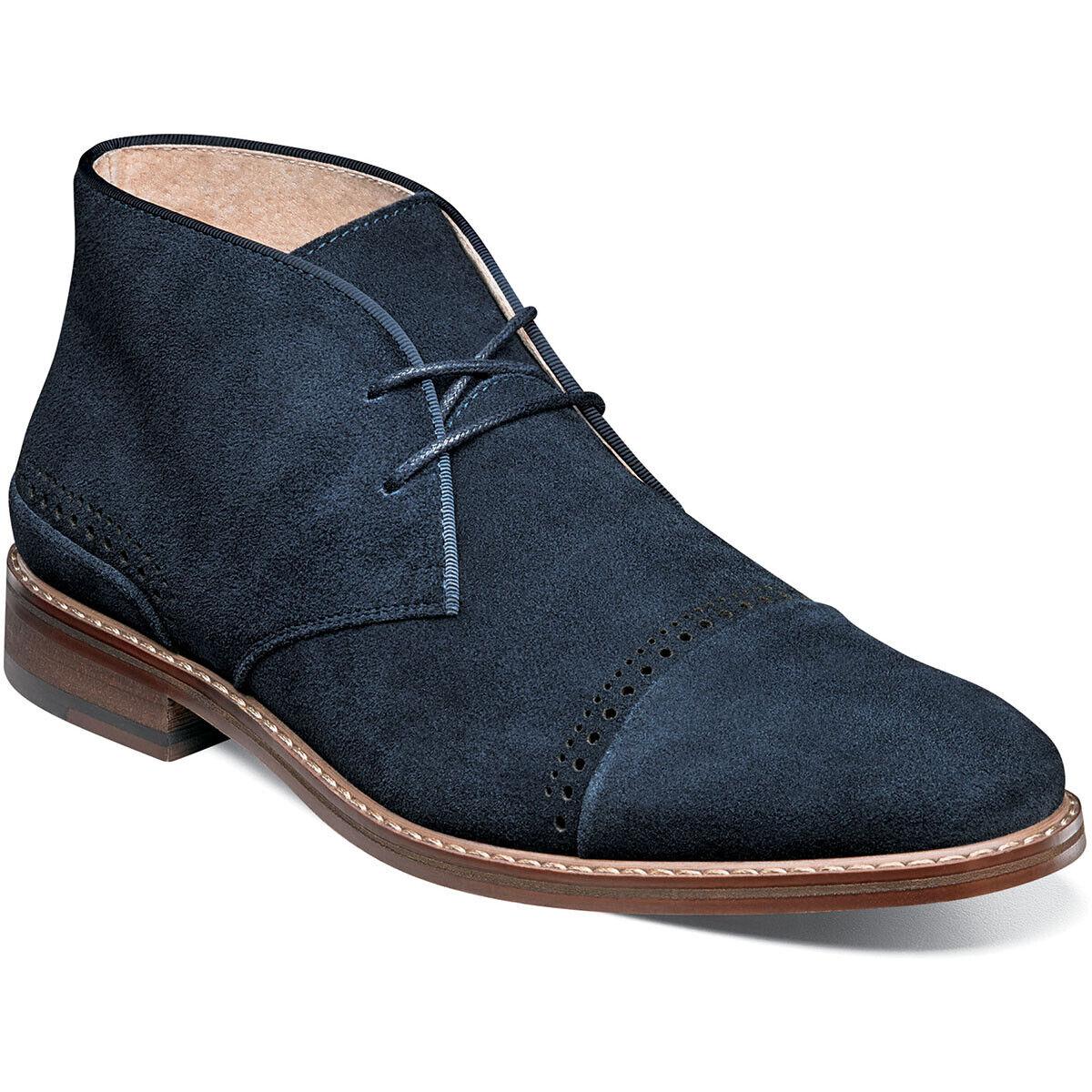Nuevas botas Color Stacy Adams Avery Cap Toe Ante Azul Marino 25198-415