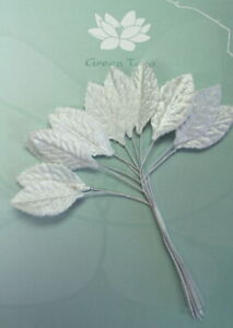 SILVER-Metallic-LEAVES-18x33mm-x-12-Leaves-with-Wire-Stems-Green-Tara-GT-D
