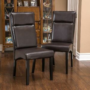 set of 2 dining room furniture brown leather padded dining chairs