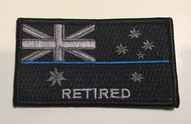 Thin Blue Line Patch, Retired Police, Subdued Black, Law Enforcement, TBL