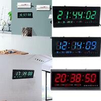 Digital Large Big Jumbo Led Wall Desk Clock With Calendar Temperature Us Stock
