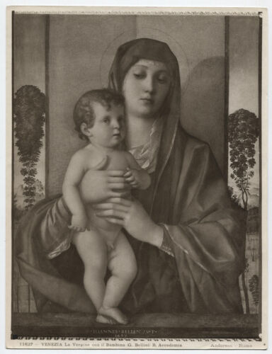 VINTAGE PHOTO OF VIRGIN AND CHILD OF PAINTING BY BELLINI, ROME, ITALY.