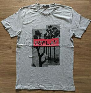 Replay Mens Tropical Logo Crew-Neck Grey T-Shirt Size XXL
