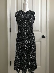 New J Crew Cap Sleeve Midi Dress In Daisy Floral Black Ivory Sz S