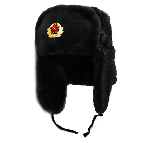 Hommes femmes en fourrure synthétique soviétique badge RUSSE Chapeau de trappeur Ushanka Cossack rabats