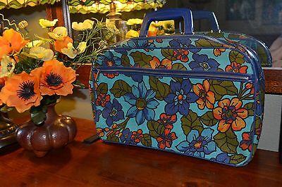 vtg 60s ADORABLE travel MINI suitcase HIPPIE floral MOD purse NOVELTY fun