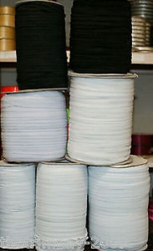 8 Cord White and Black Flat Elastic
