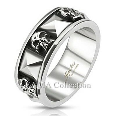 FAMA 8mm Stainless Steel Skull & Pyramid Combination Cast Band Ring Select Size
