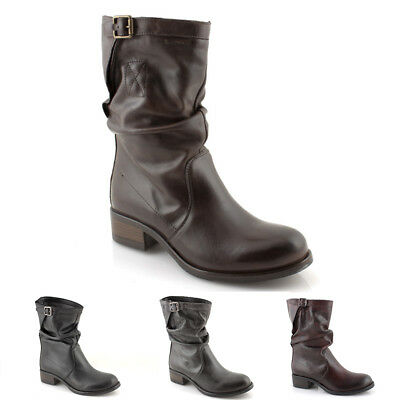 énorme réduction 661b8 69510 Boots Biker Woman Winter Leather Black Gray Brown Boot Booties Ita   eBay